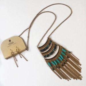 Jewelry - Long Gold Turquoise Fringe Necklace